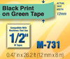 Opened Box - Brother M731 1/2 In. Black On Green P-touch Tape