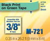 Brother M721 3/8 In. Black On Green P-touch Tape