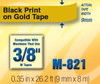 Brother M821 3/8 In. Black On Gold P-touch Tape