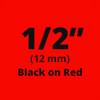 """1/2"""" black on red label"""
