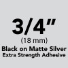 "3/4"" Black on Matte Silver extra Strength Adhesive"