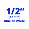 "1/2"" blue on white tx tape"