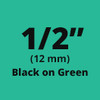 "1/2"" Black on Green tx tape"