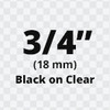 "3/4"" Black on Clear ptouch label"