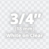 """3/4"""" White on Clear ptouch labels"""