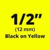 "1/2"" black on yellow tx tape"