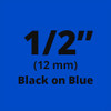 Brother TX-5311 1/2 In. Black On Blue P-touch Tape