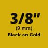 "Brother TC-90Z1 3/8"" Label Tape, Black on Gold 1/Pack"