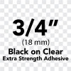 "3/4"" black on clear extra strength adhesive"