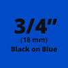 "3/4"" Black on Blue ptouch labels"
