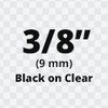 """3/8"""" Black on Clear ptouch label"""