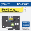 Brother TZe-FX631 1/2 In. Black On Yellow Flexible Tape