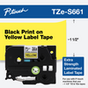 """1 1/2"""" black on yellow extra strength ptouch 36mm"""
