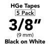 "HGE 3/8"" Black on White"