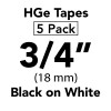 "HGE 3/4"" black on white"