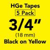 "HGE 3/4"" black on yellow"