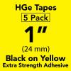 "1"" HGe extra strength Black on yellow"