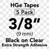 Brother HGES1215PK 3/8 In. Black on Clear Extra-Strength Tape (5/Pack)