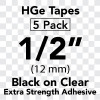 "1/2"" HGe black on clear"