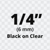 """1/4"""" Black on Clear ptouch label tze111"""