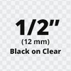 """1/2"""" Black on Clear TX Tape"""