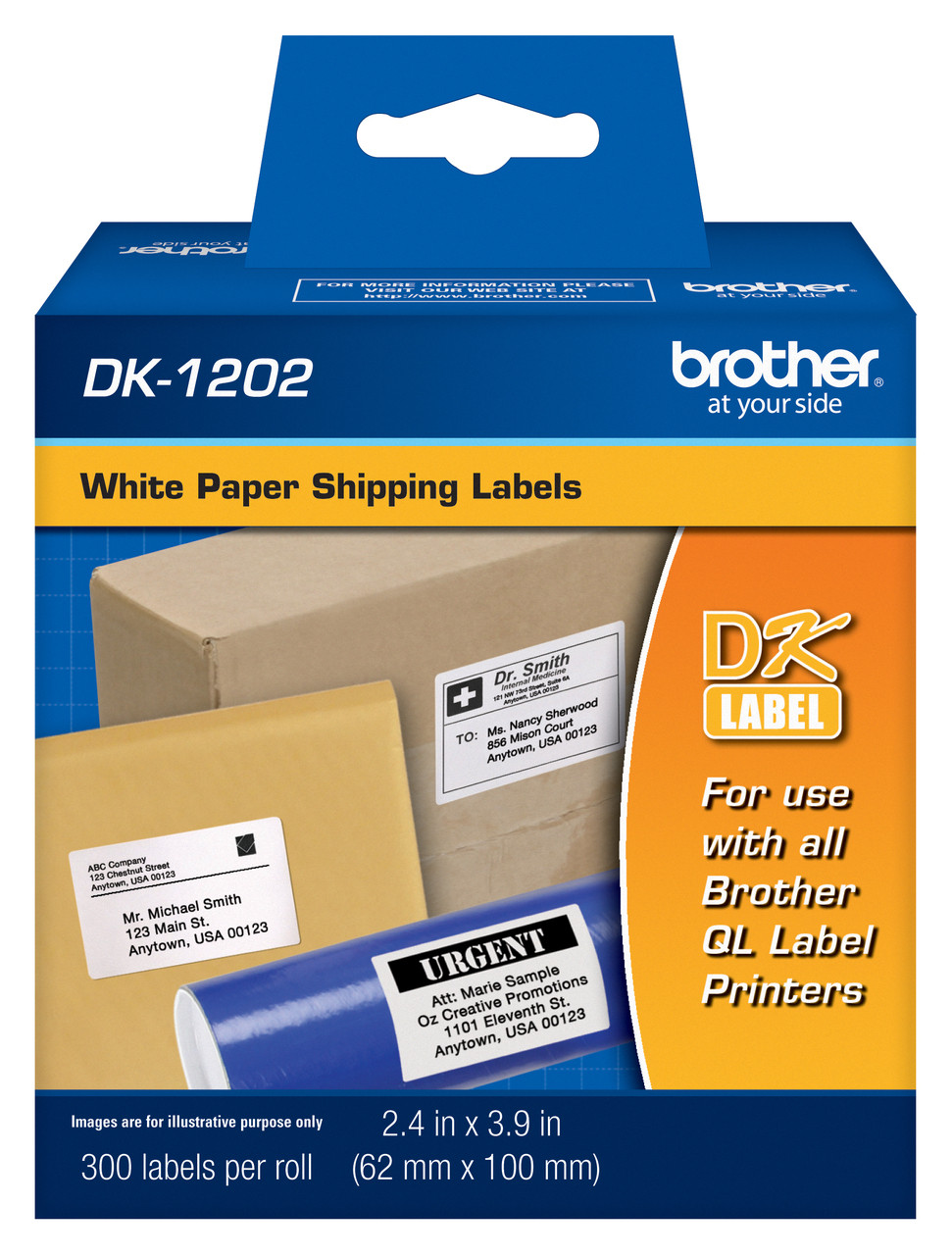 Brother DK1202 White Shipping Paper Labels