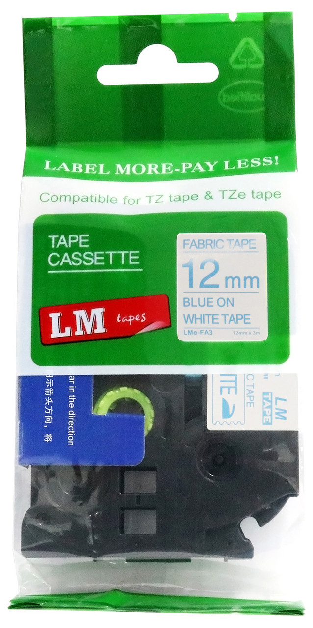 10 TZe-FA3 Blue on White BROTHER® P-Touch® Compatible Fabric Iron-on Tape 12mm