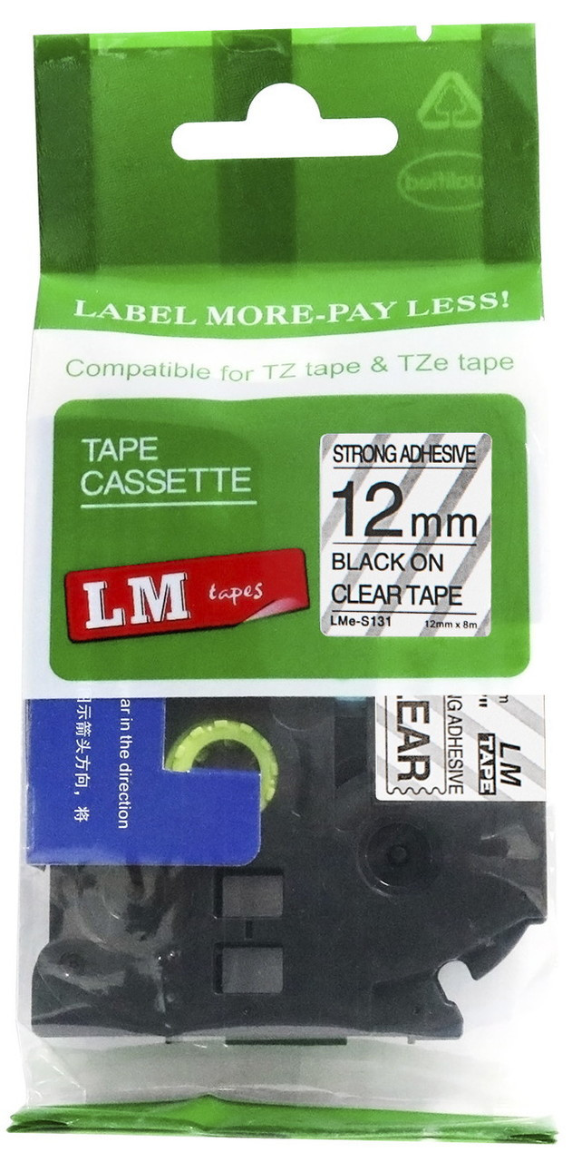 LM Tape Compatible TZe-S131 1/2 Black On Clear Extra Strength Tape, 12mm