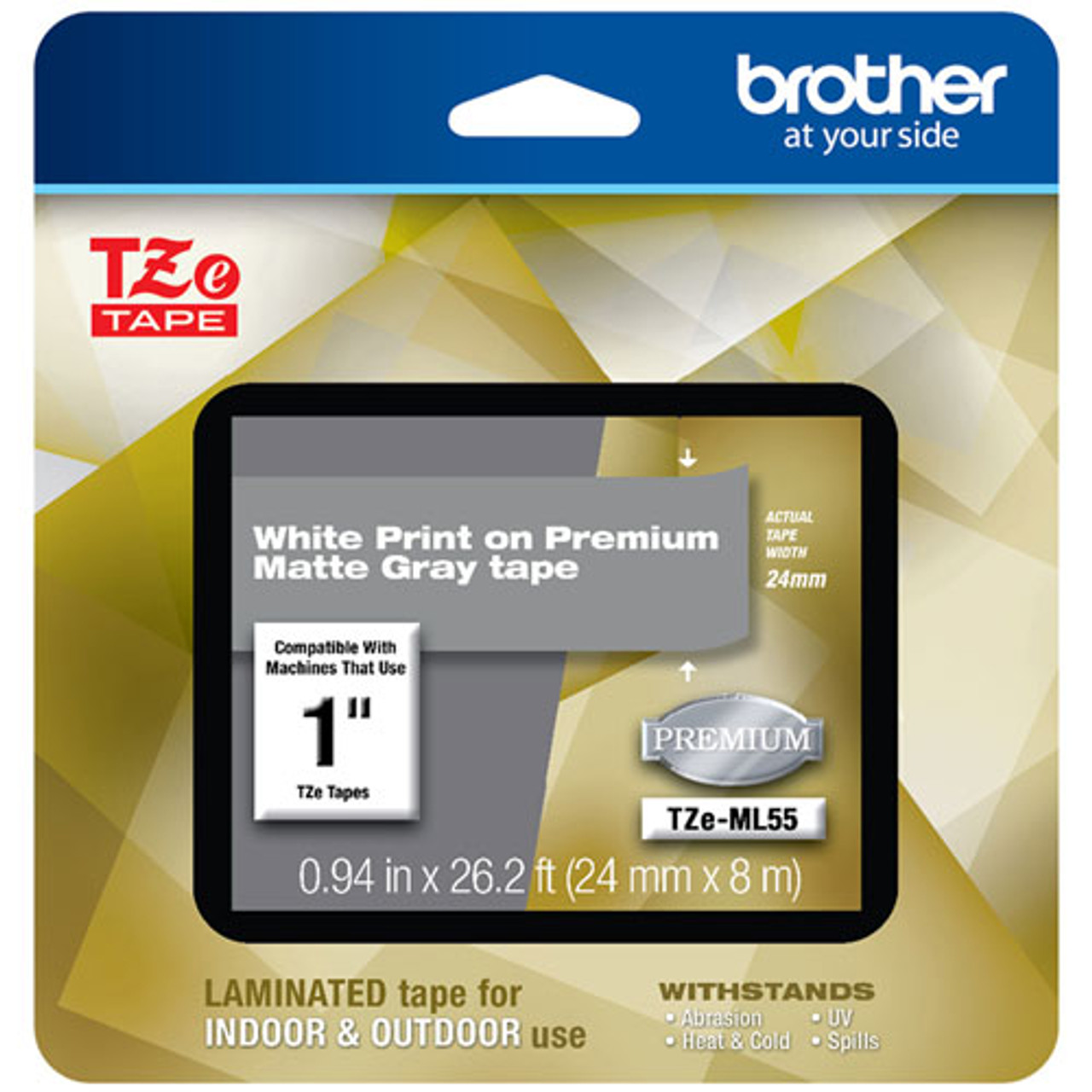 4 Pack  White on Black Label Tape for Brother P-touch PT2430PC 24mm TZ TZe 355
