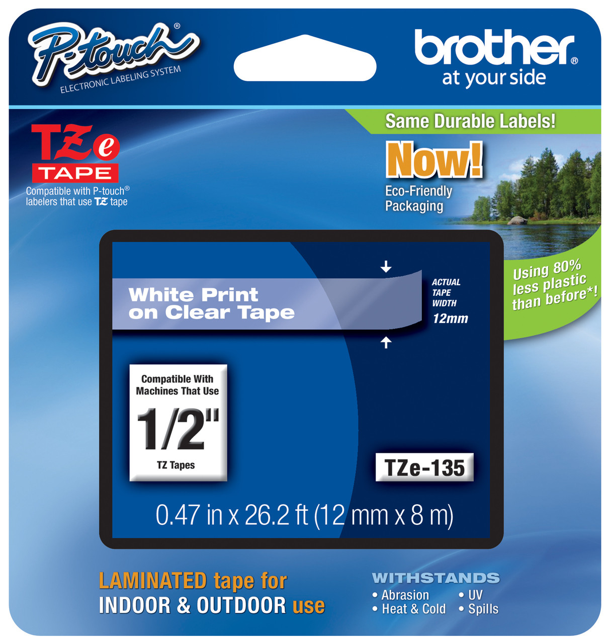 White on Clear TZ 135 TZe 135 Tape For Brother 12mm PT-D400 Label Maker 2 Pack