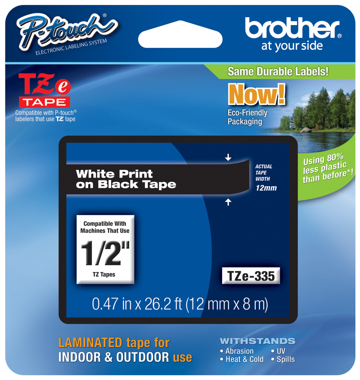 2PK TZ 335 Brother Label make Tape TZe-335 P-Touch White on Black Laminated 12mm