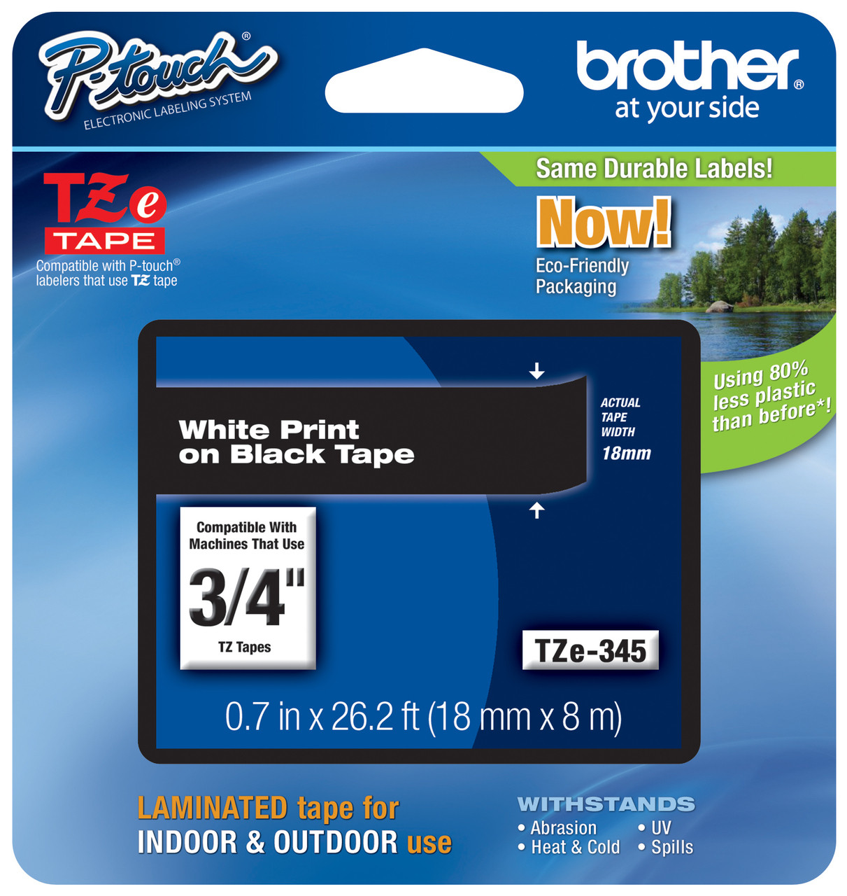 2PK 18mm White on Black Label Tape TZ TZe-345 For Brother P-Touch PT-1880//P750W