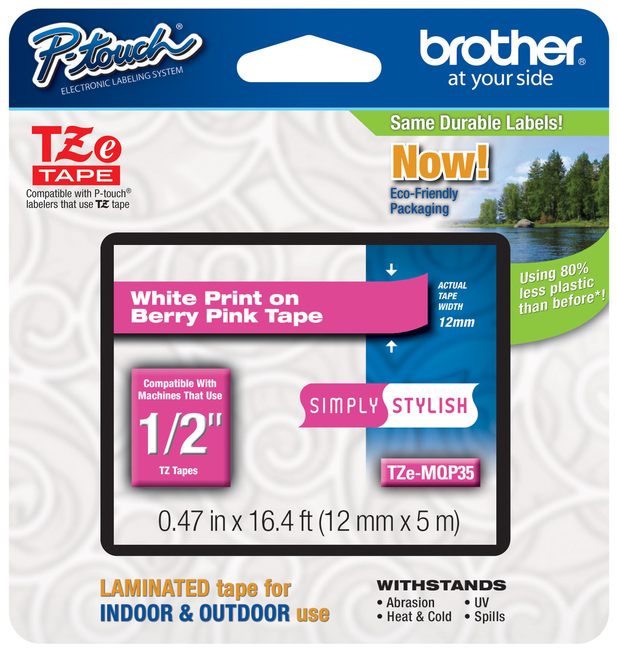 10PK TZ TZe-MQP35 White on Berry Pink Label Tape For Brother PT-1280 12mm 1//2/""