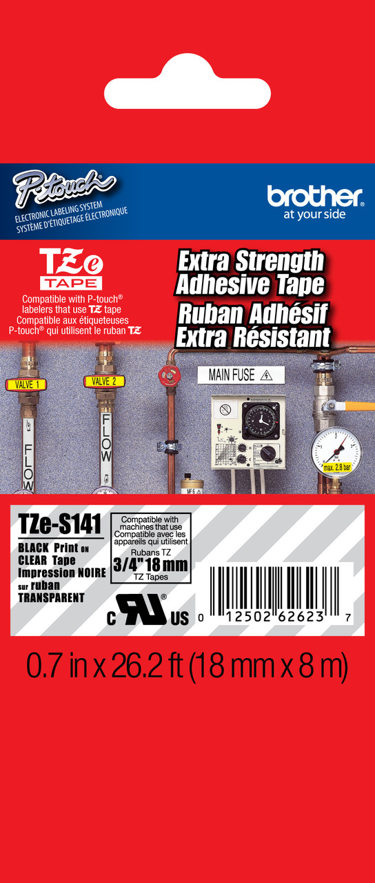 """TZ-S141 3//4/"""" BROTHER Black on Clear Extra Strength P-touch Tape,NEW"""