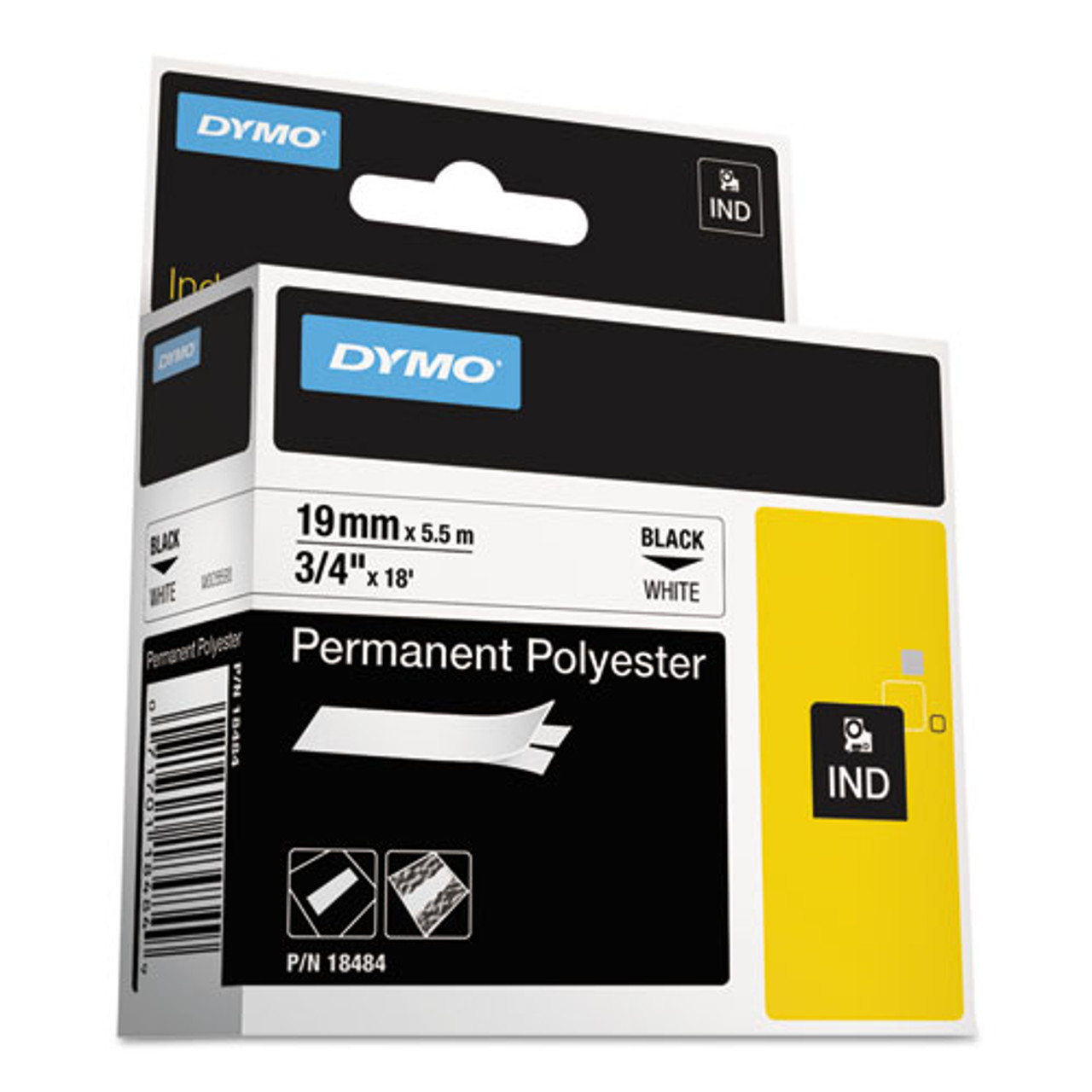 2 PK Black on White 18482 Permanent Poly Label tape for Dymo RHINO 4200 6000