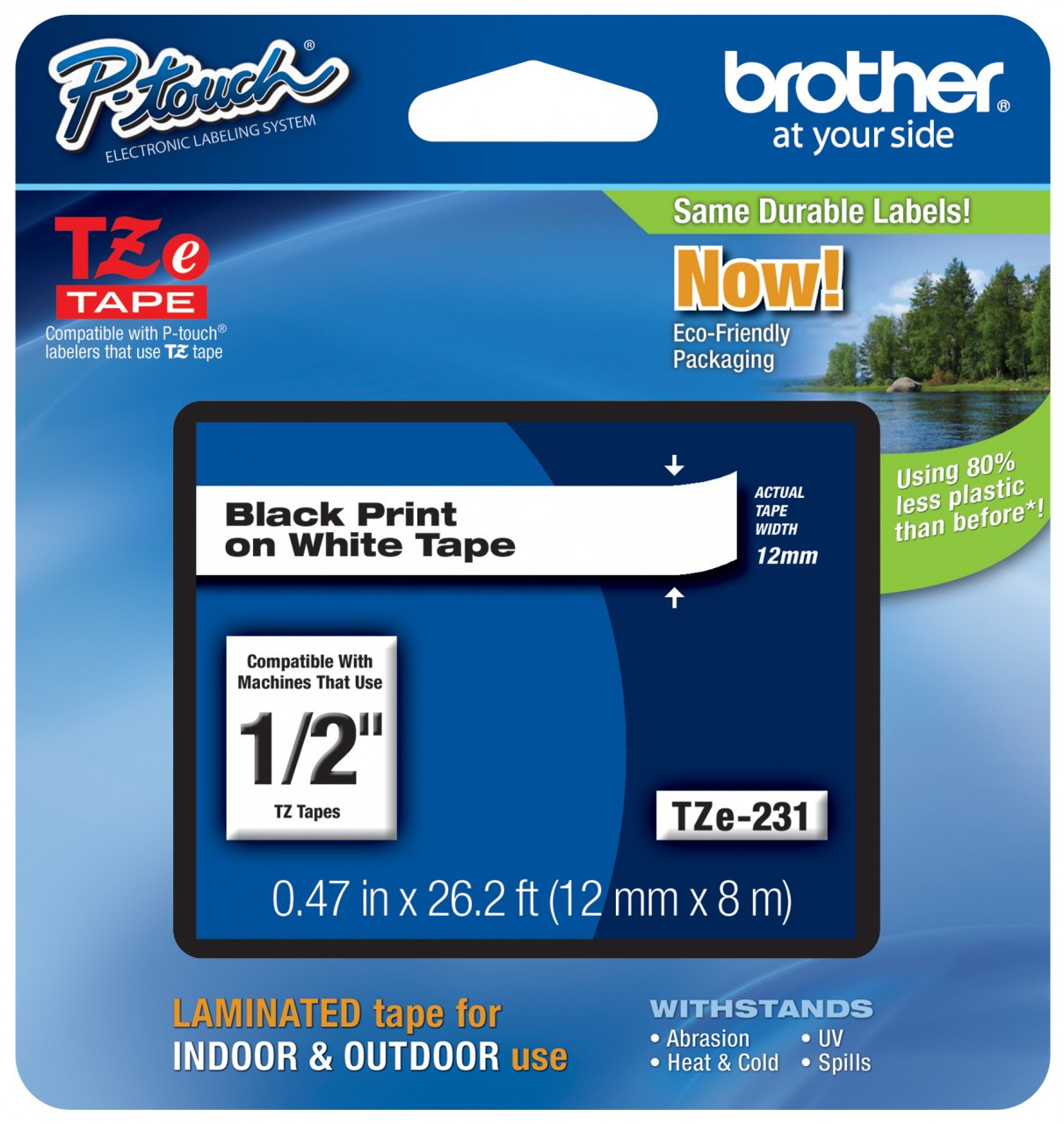 Compatible with Brother TZe231 Tape 12mm 0.47 White TZE-231 P-Touch Label Tape