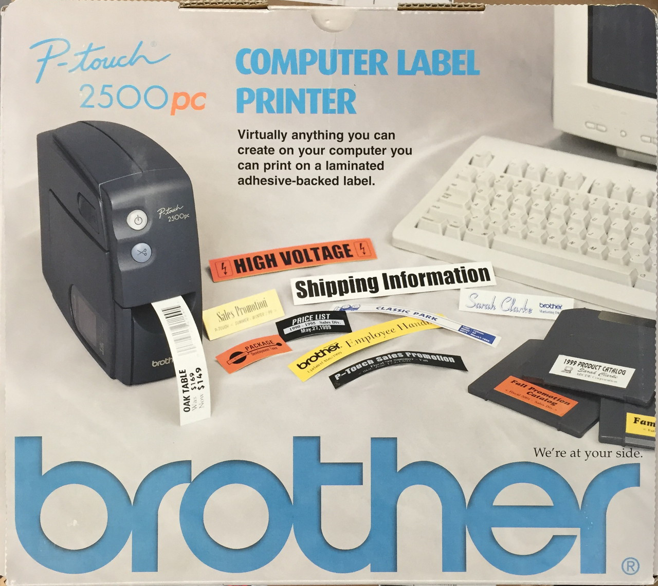 """18mm PT-2500PC Printer Brother 3//4/"""" Black on Yellow P-touch Tape for PT2500PC"""
