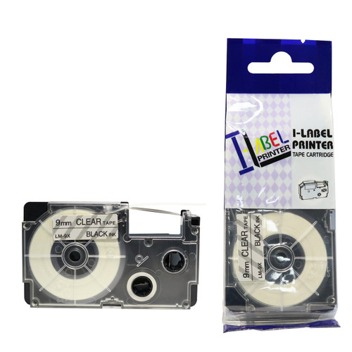 Compatible Label-It tape - black on clear