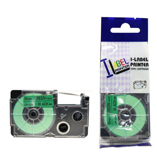 Compatible Label-It tape - black on green
