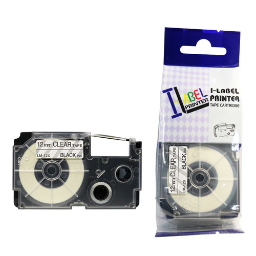 Compatible Label-It tape - 12mm black on clear