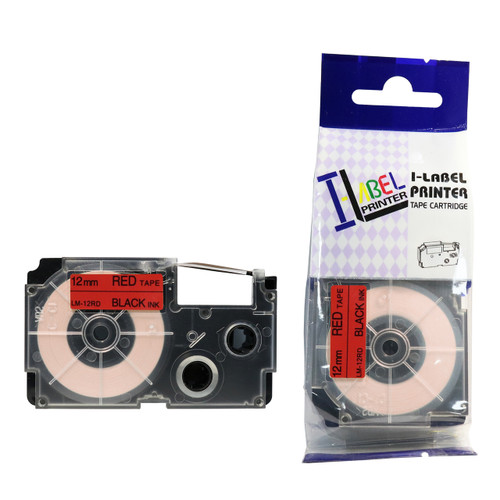 Compatible Label-It tape - 12mm black on red