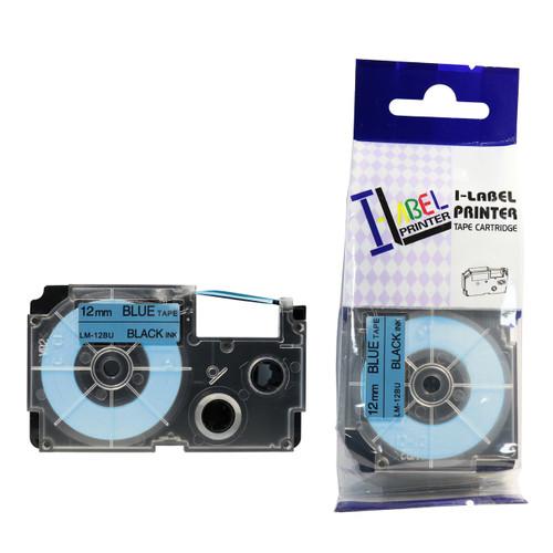 Compatible Label-It tape - 12mm black on blue