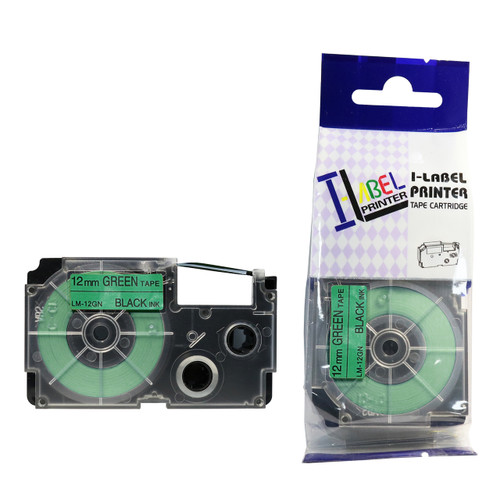 Compatible Label-It tape - 12mm black on green