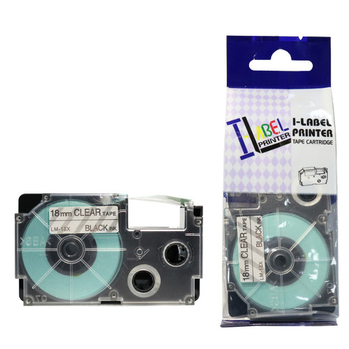 Compatible Label-It tape - 18mm black on clear