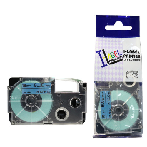 Compatible Label-It tape - 18mm black on blue