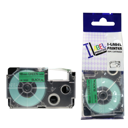 Compatible Label-It tape - 18mm black on green