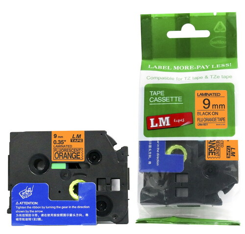 Replacement p-touch black on orange label tape
