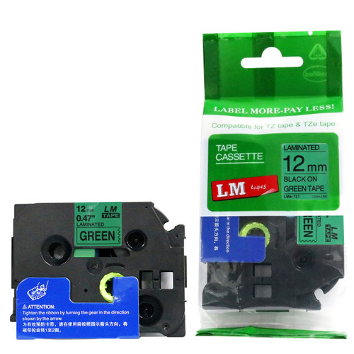 Replacement p-touch black on green label tape p-touch tape