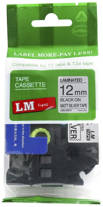 12mm black on matte silver p-touch tape
