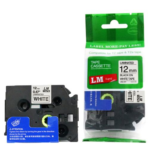 1/2 black on white label tape tape